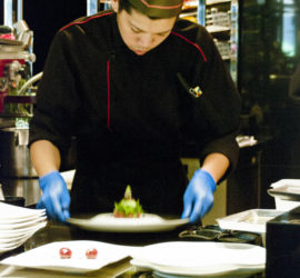 A chef at Joël Robuchon Hong Kong